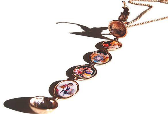 Подарък за Жена Колие за 4 Снимки   Отварящ се Медальон