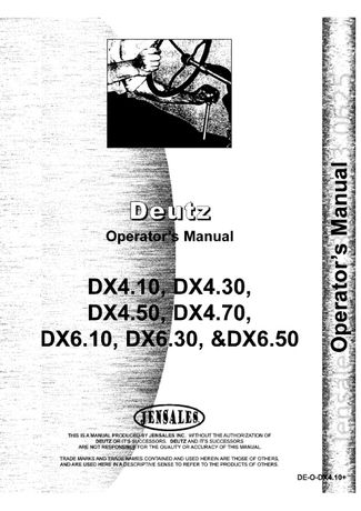 Manual service tractor deutz DX 4.10, DX 4.50, DX 4.70, DX6.50