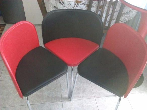 Продавам нови столчета - еко кожа - трьбни хромирани крака. !