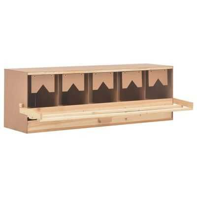Cuibar gaini cu 5 compartimente, 117x33x38 cm, lemn masiv pin