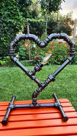 Декоративна лампа - Сърце ( Industrial pipelamp) Свети Валентин