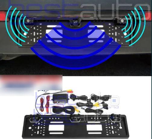 Поставка за номер с камера за задно виждане и паркинг сензори