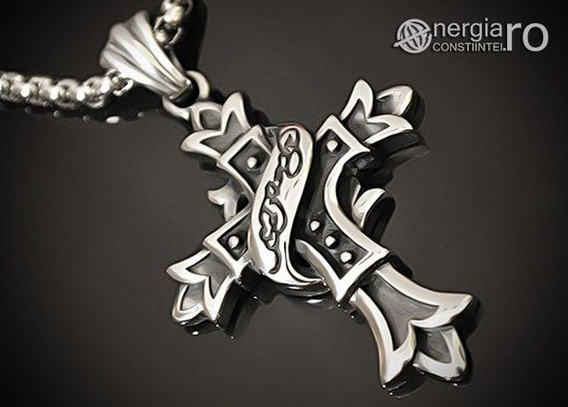 Amuletă Pandantiv Cruciuliţă Cruce Crucifix din INOX - cod PND062