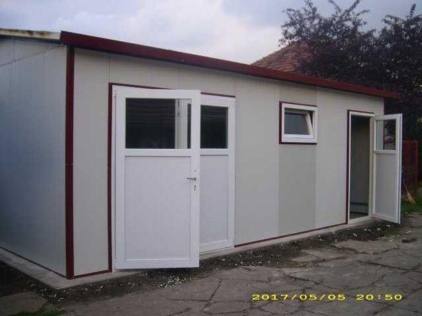 Casa, garaje auto, containere din panou sandwich si cabane din lemn
