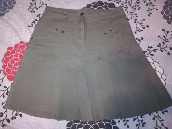 раздвижена дамска пола в зелен милитъри цвят