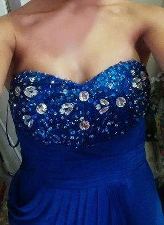 Синя абитуриентска рокля с камъни
