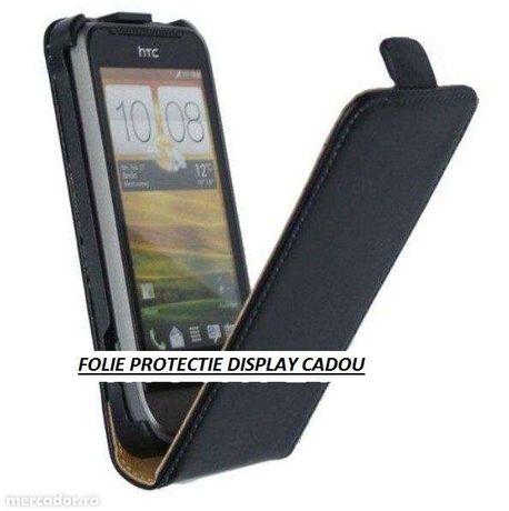 Husa Eleganta TOC FLIP Piele Negru HTC ONE V