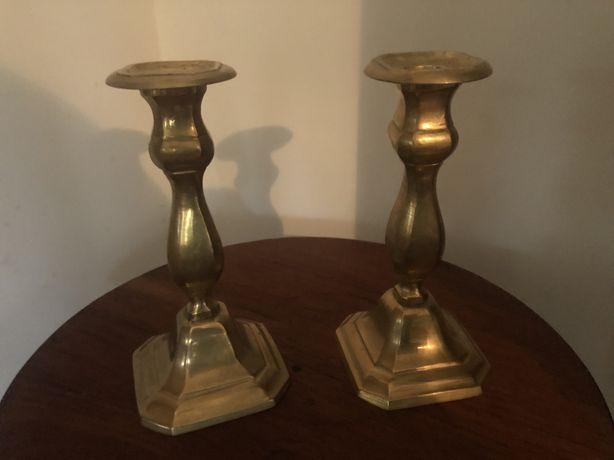 Pereche de sfesnice vechi englezesti din bronz