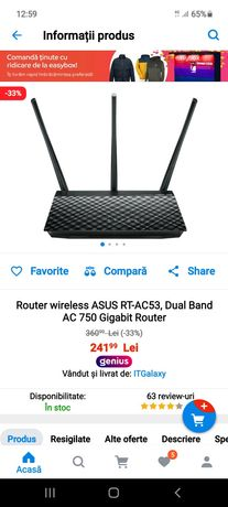Router wireless ASUS RT-AC53, Dual Band AC 750 Gigabit Router