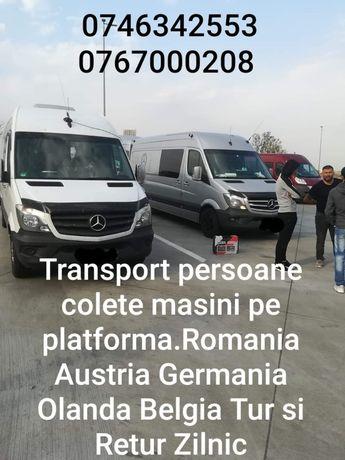 Transport persoane  si masini pe platforma