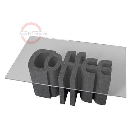 Masuta de cafea din polistiren si policarbonat clar transparent