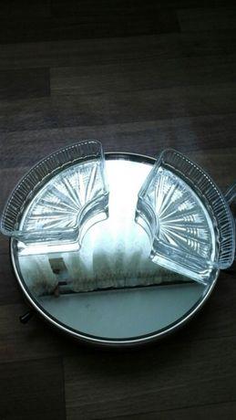 Блюдо для закусок,тортница,вращается, круг из зеркала