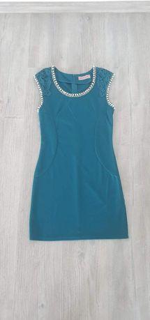 Rochie turcoaz cu perle