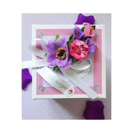 """Експлодираща кутия Цветница, хартиена торта """"Шоколад"""", картичка, плик"""