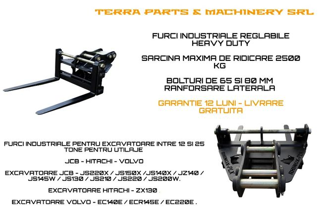 Furci industriale pentru excavatoare 12 - 25 Tone VOLVO HITACHI JCB