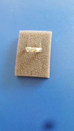 Inel verigheta aur alb 14K cu diamante