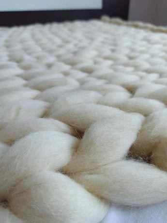 ръчно изплетено Вълнено одеяло от Фина 100% Чиста Мериносова Вълна!