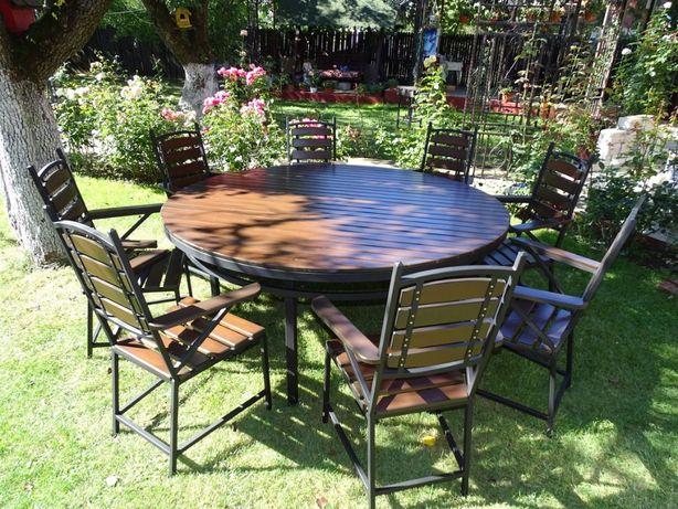 Masa rotunda cu 8 scaune