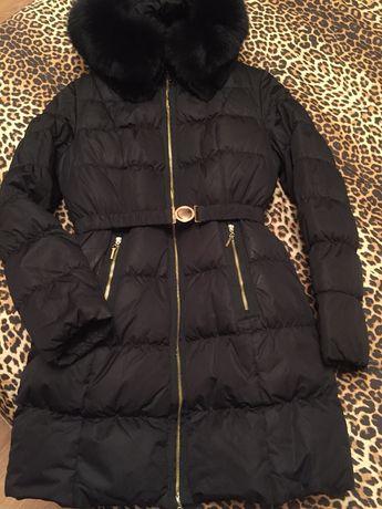 Куртка-пальто очень тёплое шикарный капюшон в отличном сост