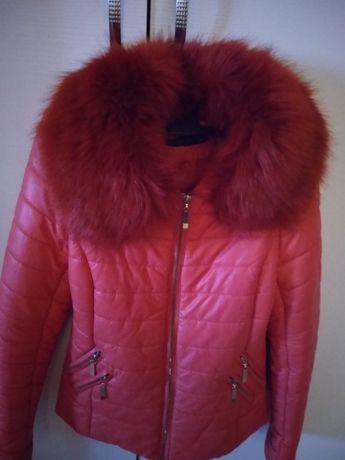 Зимно кожено яке със свалящи се яка XS