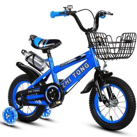 Bicicleta 16 inch albastra cu roti silicon