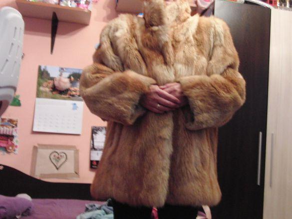 палто от цели кожи на лисица