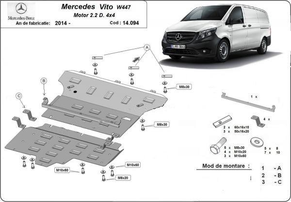 Scut motor metalic pentru Mercedes Vito 1996-prezent - otel 2-2.5mm