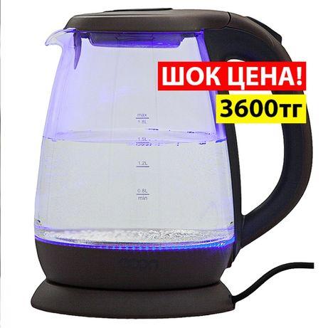Распродажа! Стеклянный электро чайник - 3600 тенге! Tefal Тефаль