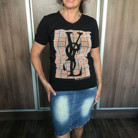 Нова дамска черна тениска с принт