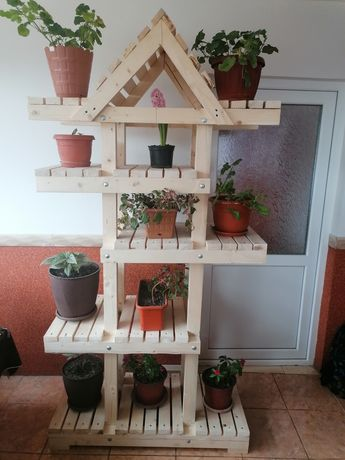 Suport flori lemn rustic
