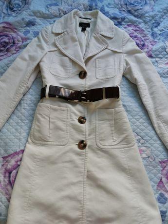 Манго бяло палто с колан , размер С