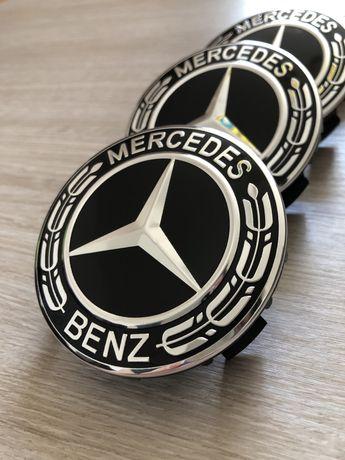 Капачки за джанти Мерцедес/Mercedes Benz 75 мм в тотал черно