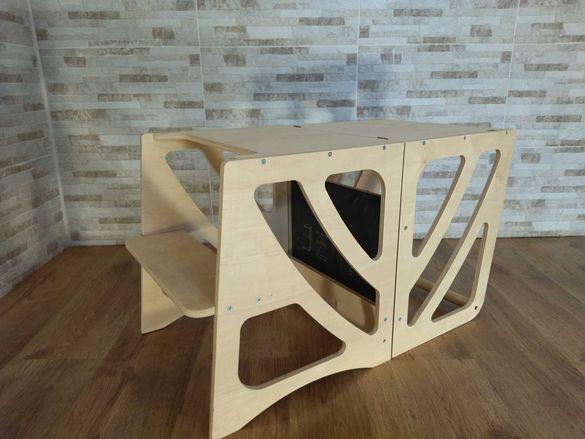 Кула Монтесори 5 в 1 / Маса, стол и пързалка