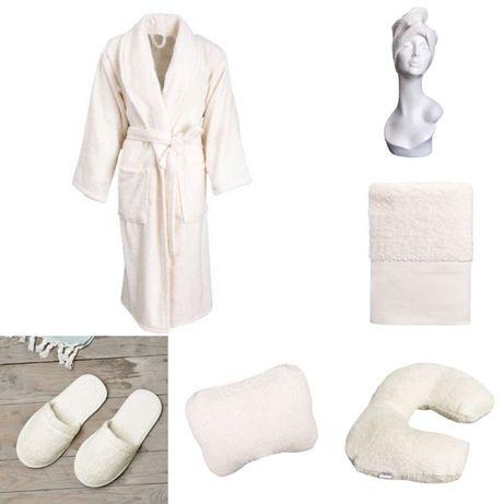 Set baie: Halat, prosop fata, prosop turban, perna mica, papuci