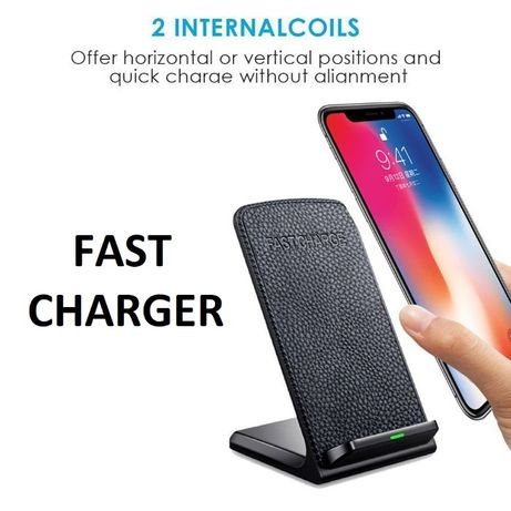 Fast Charger model cu piele pt iPhone X,XS,XR, Samsung S8,S9,S10
