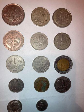 стари редки монети 5 francs  1 deutsche mark , 2 deutsche mark ..