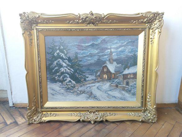 """гоблен с рамка /""""Зима с параклис"""", """"Кораб в морето"""", """"Планински пейзаж"""