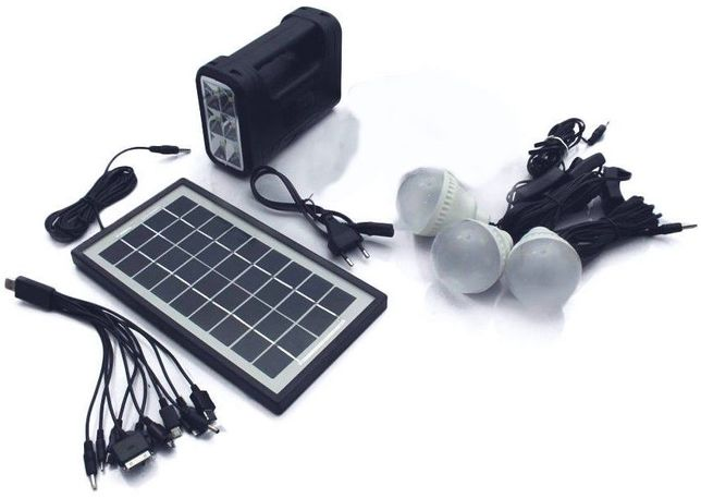 Panou solar fotovoltaic KIT iluminare 3 becuri incarcare telefon 8017