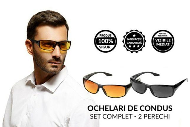 Set 2 ochelari HD VISION pentru condus zi-noapte protectie UV
