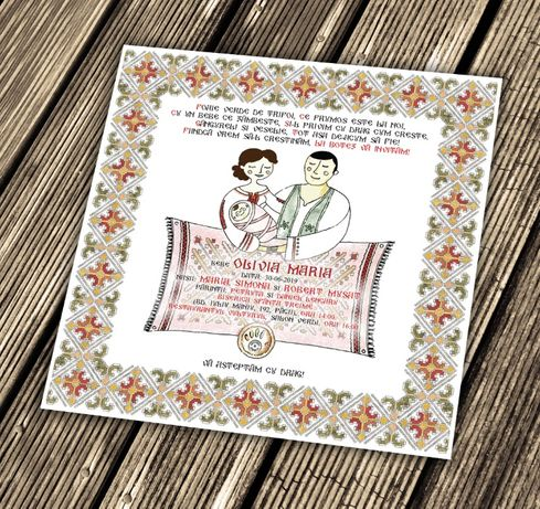 invitatie botez traditional romanesc cu motive traditionale familie