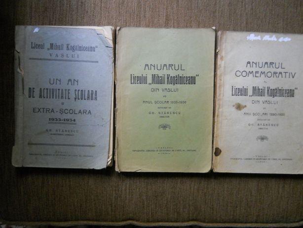 "Liceul ""Mihail Kogalniceanu"" Vaslui,3 anuare 1933/34,1933/35 si"
