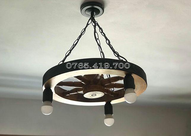 Candelabru Rustic / Lampadar Rustic din roata de lemn