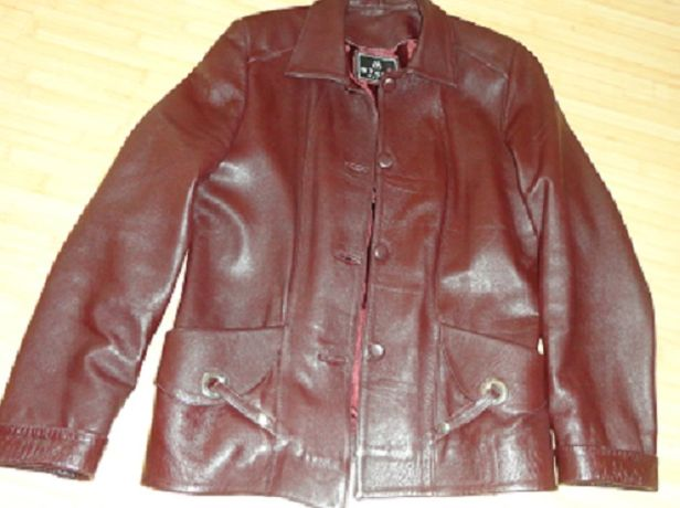 haina scurta din piele naturala bordo