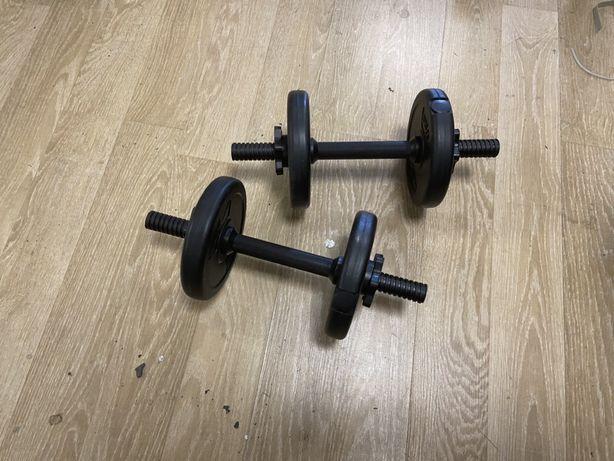 Gantere reglabile noi set de 5 kg ambele, 2,5+2,5=5 kg pret 99 ron set