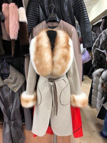 Palton din lana Alpaca cu blana naturala de vulpe