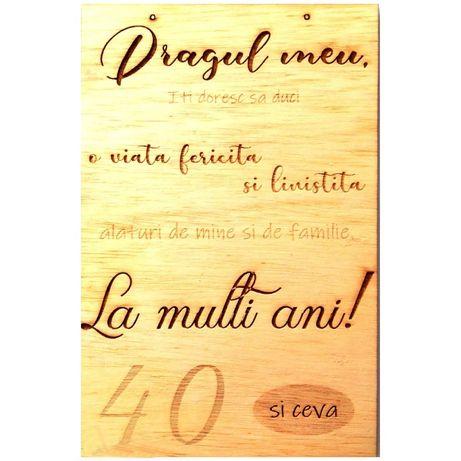 Mesaj personalizat ocazie speciala, lemn natur, suport auriu, 20×30 cm