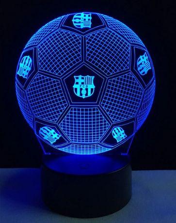 Lampa veioza fotbal 3D FCB iluzie laser led mingie Barcelona +CADOU!