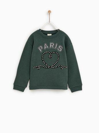 ZARA - детски ватиран пуловер с перли