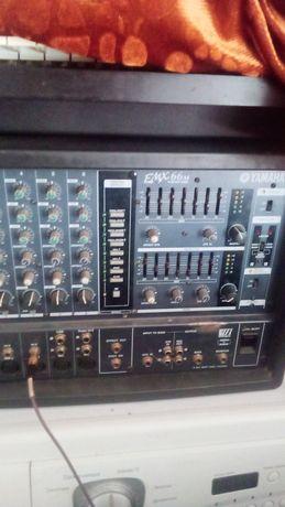 Продам микшерный пульт с усилителя Yamaha 66M+колонки+шнур + стойки