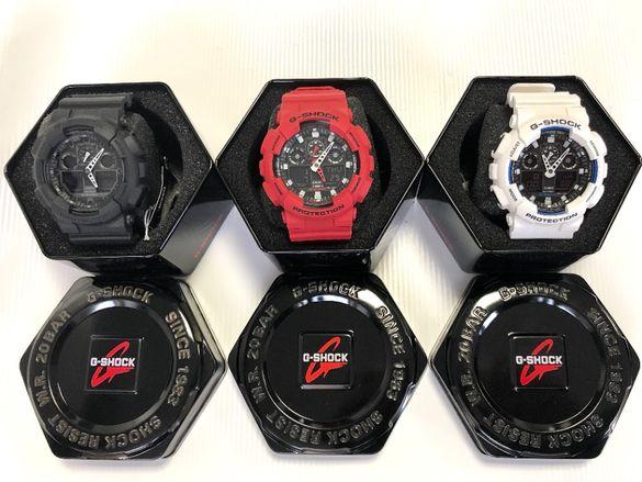 Мъжки часовник Casio G-SHOCK GA-100, 3 модела в черно, червено и бяло,